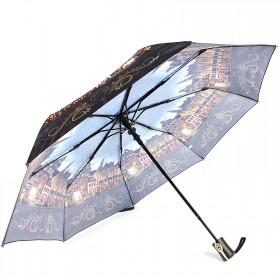 Зонт женский ТриСлона-881,  R=55см,  полуавт;  8спиц,  3слож,  полиэстер,  коричн/серый,  Город 203605