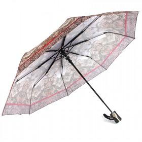 Зонт женский ТриСлона-881,  R=55см,  полуавт;  8спиц,  3слож,  полиэстер,  беж,  пейсли 203606