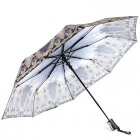 Зонт женский ТриСлона-881,  R=55см,  полуавт;  8спиц,  3слож,  полиэстер,  серый/желт,  узор 203608