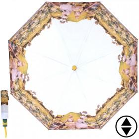 Зонт женский RST-3631,  R=56см,  суперавт;  8спиц-сталь+fiber,  3слож,  полиэстер,  (Кувшинки)  желтый 203626