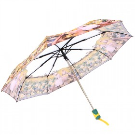 Зонт женский RST-3631,    R=56см,    суперавт;    8спиц-сталь+fiber,    3слож,    полиэстер,      (Кувшинки)    желтый