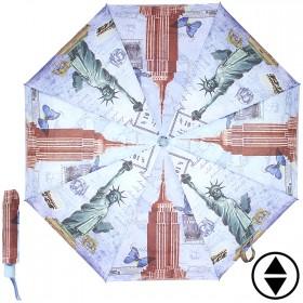 Зонт женский 3678,    R=56см,    суперавт;    8спиц-сталь+fiber,    3слож,    полиэстер,      (Нью-Йорк)    сиреневый