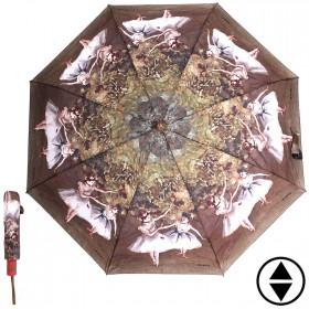Зонт женский RST-3630,    R=56см,    суперавт;    8спиц-сталь+fiber,    3слож,    полиэстер,       (Балерины)    коричневый