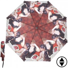 Зонт женский RST-3630,  R=56см,  суперавт;  8спиц-сталь+fiber,  3слож,  полиэстер,   (Девушки)  коричневый 203850