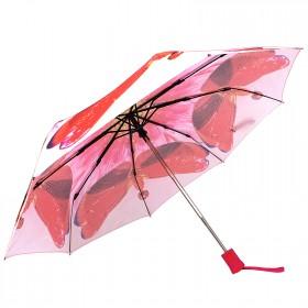 Зонт женский RST-3551,    R=56см,    суперавт;    8спиц-сталь+fiber,    3слож,    полиэстер,      (Красная стрекоза)    розовый