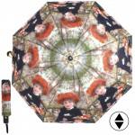 Зонт женский 3742,    R=56см,    суперавт;    8спиц-сталь+fiber,    3слож,    полиэстер,      (Девушка и девочка)    зеленый