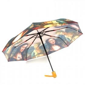 Зонт женский 3742,    R=56см,    суперавт;    8спиц-сталь+fiber,    3слож,    полиэстер,      (Женщина с картины)    зеленый