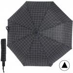 Зонт муж TR-3310,  R=56см,  полуавт;  8 спиц - сталь-fiber;  3 слож,  полиэстер,  (штрих-клетки)  черный  203912