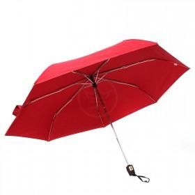 Зонт женский ТриСлона-076 С,  R=54см,  суперавт;  7спиц,  3слож,  полиэстер,  красный 204403