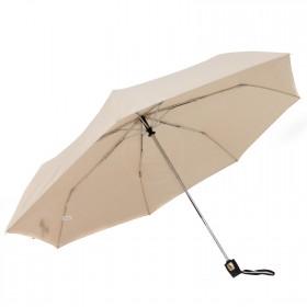 Зонт женский ТриСлона-076 С,  R=54см,  суперавт;  7спиц,  3слож,  полиэстер,  бежевый 204405