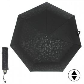 Зонт женский ТриСлона-076 С,  R=54см,  суперавт;  7спиц,  3слож,  полиэстер,  черный 204406
