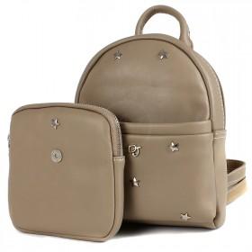 Сумка женская искусственная кожа DJ-CM 3701-CAMEL   (рюкзак+кошелек) ,    1отд,    2внут+2внеш/карм,    бежевый