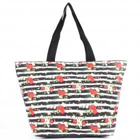 Сумка пляжная текстиль Юпитер-2711.37К,    1отд,    красный/черный    (цветы)