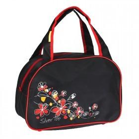 Сумка дорожная SilverTop-4195 Транзит,    б/подклада,    жесткое дно,    ножки,       (цветы)    черный/красный