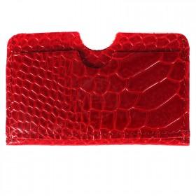 Обложка пропуск/карточка/проездной PRT-ФК-9 натуральная кожа красный питон  205558
