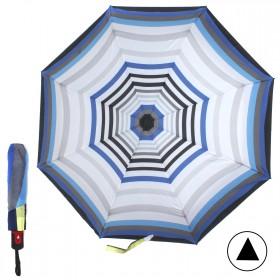 Зонт женский TR-43035АО,    R=56см,    полуавт;    8спиц-сталь+fiber;    3слож;    полиэстер,       (УЦЕНКА пятна ржавчиныы)    син/сер/бел/голуб