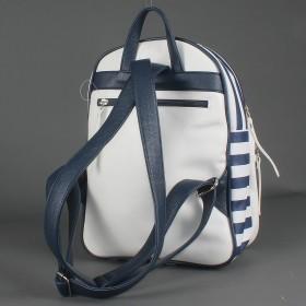 Сумка женская искусственная кожа GR-1589    (рюкзак) ,    2отд,    2внут+1внеш карм,    син/бел полоска