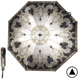 Зонт женский ТриСлона-882,  R=55см,  полуавт;  8спиц,  3слож,  сатин,  серый,  золотой узор 205935