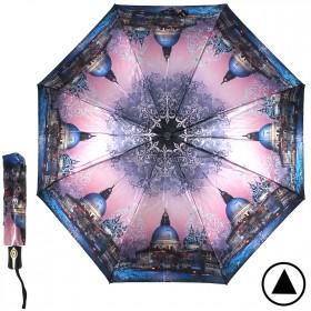 Зонт женский ТриСлона-882,  R=55см,  полуавт;  8спиц,  3слож,  сатин,  синий/роз,  Венеция 205936