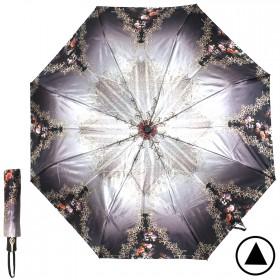 Зонт женский ТриСлона-882,  R=55см,  полуавт;  8спиц,  3слож,  сатин,  коричн/черн,  цветы и узор 205937