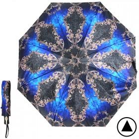 Зонт женский ТриСлона-882,  R=55см,  полуавт;  8спиц,  3слож,  сатин,  синий/черный,  узор 205940