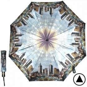 Зонт женский ТриСлона-882,  R=55см,  полуавт;  8спиц,  3слож,  сатин,  серый,  ночной город 205943