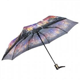 Зонт женский ТриСлона-882,  R=55см,  полуавт;  8спиц,  3слож,  сатин,  фиолет,  Шанхай 205944