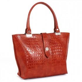 Сумка женская натуральная кожа Варвара 302-3М,  1отд+карм/пер,  рыжий яркий кайман/лак (4395)  206425