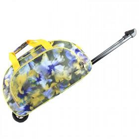 """Сумка АК 2099М (20"""")  на колесах,  1отд,  1внеш карм,  фиолетово-желтая акварель 207037"""