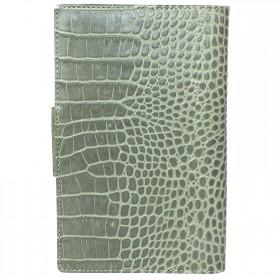 Визитница 3-х рядная с хлястиком натуральная кожа «CrocoNile» V.16.KR.серо-зеленый