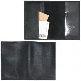 Обложка для паспорта натуральная кожа «Estet»-O.3.MN.,    черный