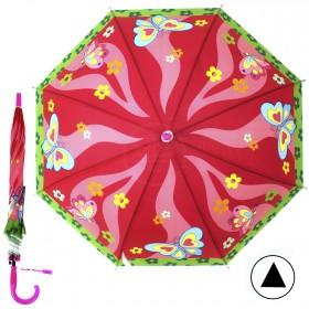 """Зонт детский 371-013,  R=42, 5см,  полуавт;  8спиц-сталь;  трость;  полиэстер,  """"Бабочки"""",  розовый 207554"""