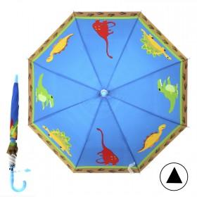 """Зонт детский 371-012,  R=42, 5см,  полуавт;  8спиц-сталь;  трость;  полиэстер,  """"Дракончики"""",  синий 207555"""