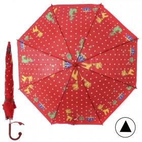 """Зонт детский 371-011,  R=38, 5см,  полуавт;  8спиц-сталь;  трость;  полиэстер,  """"Жираф и динозавр"""",  красный 207557"""