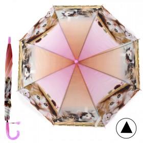 """Зонт детский 371-019,  R=42, 5см,  полуавт;  8спиц-сталь;  трость;  полиэстер,  """"Котята"""",  розовый 207559"""