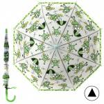 """Зонт детский 371-014,    R=42,   5см,    полуавт;    8спиц-сталь;    трость;    полиэстер,    """"  Лягушата"""" ,    зеленый"""