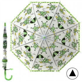 """Зонт детский 371-014,  R=42, 5см,  полуавт;  8спиц-сталь;  трость;  полиэстер,  """"Лягушата"""",  зеленый 207560"""