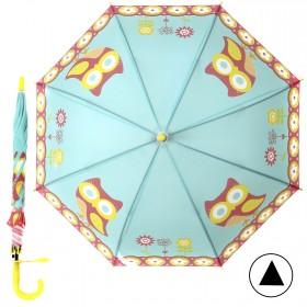 """Зонт детский 371-015,  R=50см,  полуавт;  8спиц-сталь;  трость;  полиэстер,  """"Совята"""",  бирюза 207563"""
