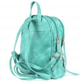 Сумка женская искуственная кожа GR-1610  (рюкзак),  2отд,  3внут+1внеш карм,  зеленый  (а-ля джинс)  208010
