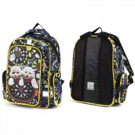 Рюкзак Rise-м-352,  школьный,  эргоном.спинка,  2отд,  2внут+3внеш карм,  черный  (котята)  208053