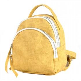 Сумка женская искуственная кожа GR-1615  (рюкзак-мини),  2отд,  2внут+2внеш карм,  желтый 208112