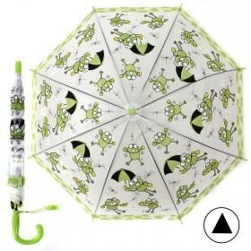 """Зонт детский 371-018,  R=43см,  полуавт;  8спиц-сталь;  трость;  полиэстер,  """"Веселые лягушки"""",  зеленый 208560"""