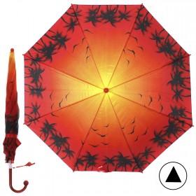 """Зонт детский 371-011,  R=38, 5см,  полуавт;  8спиц-сталь;  трость;  полиэстер,  """"Пальмы"""",  красный 208565"""