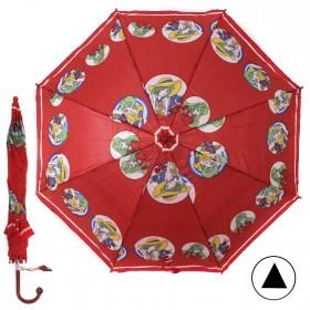 """Зонт детский 371-011,  R=38, 5см,  полуавт;  8спиц-сталь;  трость;  полиэстер,  """"Модницы"""",  красный 208567"""