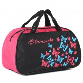 Сумка дорожная SKP-264 П-420,  1отд,  2внеш карм,  черн/розовый  (Glamour-печать бабочки)  209083