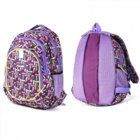 Рюкзак Арлион-373А,    эргоном спинка,    2отд,    3внеш карм,    фиолет    (цв.штрихи)
