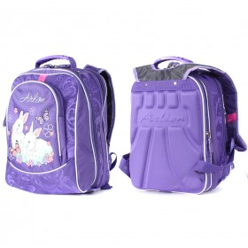 Рюкзак Арлион-370 жесткое эргоном спинка,    2отд на молнии,    4 внут отд,    1внеш карм,    фиолет    (кролики)