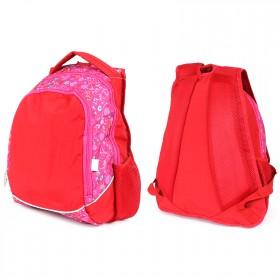 Рюкзак Ермак с-294 молодежный,  эргоном спинка,  2отд,  2карм,  красный/розовый  (цветы)  210015