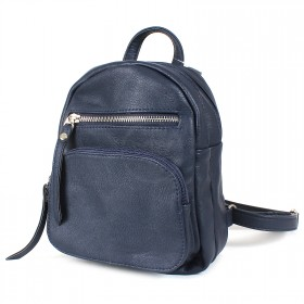 Сумка женская искусственная кожа GR-1617    (рюкзак-мини) ,    2отд,    2внут+3внеш карм,    темно-синий