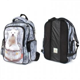 Рюкзак Rise-м-352,  школьный,  эргоном.спинка,  2отд,  2внут+3внеш карм,  серый  (мишка)  210055